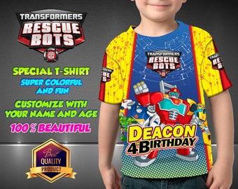 Transformers Rescue Bots Birthday Shirt,  Custom Shirt, Personalized  Shirt, Transformers Rescue Bots family shirts, Birthday t-shirts