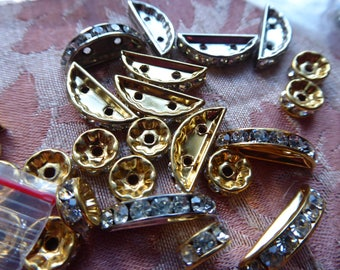 50 + 30 spacer rondelles in rhinestones and metal * 0.6 to 2 cm *.