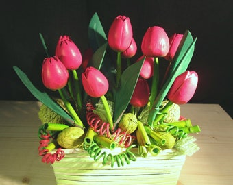 Composition of Red tulips wooden