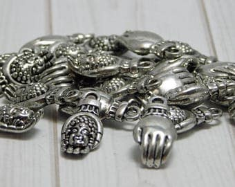 Buddha Charms - Hand Charms - Silver Charms - Antique Silver - Metal Charms - 5pcs (5462)