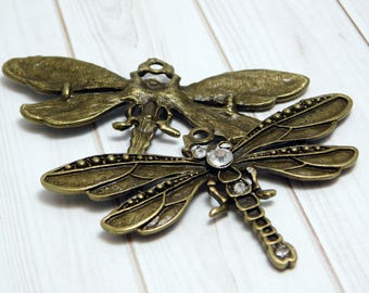 Dragonfly Pendant - Bronze Pendant - Rhinestone Pendant - Large Pendants - Necklace Pendants - 1 or 2pcs (B539)