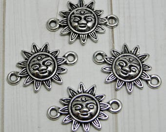 Connector Bars - Bracelet Connectors - Sun Face - Sun Charms - Silver Charms - Silver Connectors - Boho Charms - 8pcs (A71)
