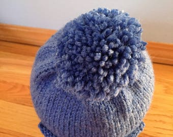 EARFLAT HAT, Bomber Hat, Beanie Hat, Pom Pom Hat, Baby Hat, Childrens Hat, Hand Knitted, Mommy and Me, Daddy and Me