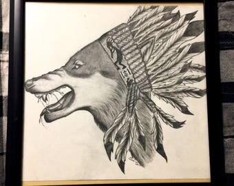 Native American Wolf Original Drawing