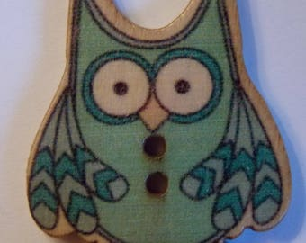 ❥ Cute blue OWL wood button two hole