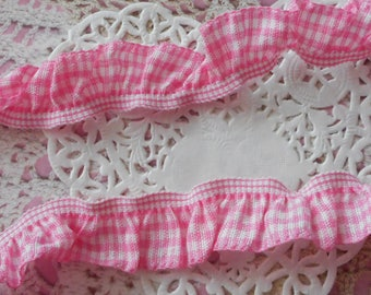 Pink and white gingham Ribbon gathered by elastic for sewing or decoration 2.00 cm width
