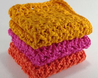3 cotton dishcloths 14 cm yellow/pink/orange
