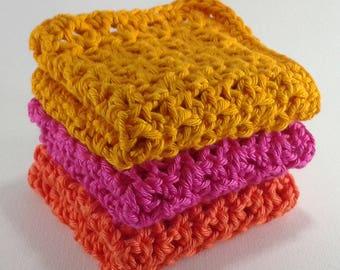 3 cotton dishcloths 14 cm yellow/pink/orange