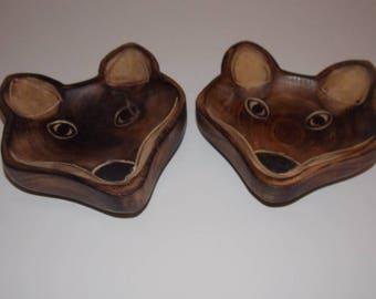 Bowl of mango wood decorative Fox unit-01