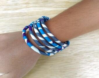 Bracelet African wax - blue, white fabric - brawas28