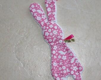 plush velvet ribbons pink and white rabbit