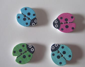 set of 4 adorable wooden ladybugs representing - buttons 2 holes