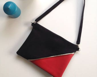 Black and Red clutch with Gold piping