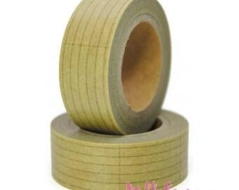 10 m masking tape light brown lines deco sticker scrapbooking embellishment *.