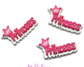 "Set of 3 words ""Princess"" resin embellishment scrapbooking card making (ref.310) *."