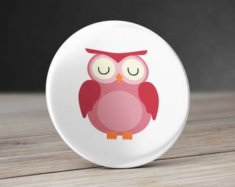 Owl Pinback Button, Magnet or Mirror 58 mm  - Pink Owl Pinback Button - Pink Owl Pocket Mirror - Owl Magnet - Pink Owl Magnet - Owl Mirror