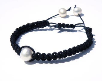 Shamballa style braided bracelet and freshwater pearls