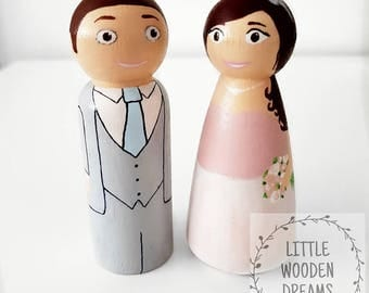 9cm peg doll wedding cake toppers