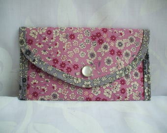 Pocket envelope liberty fabric pink, beige and grey