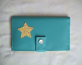 Turquoise leatherette and yellow fabric wallet