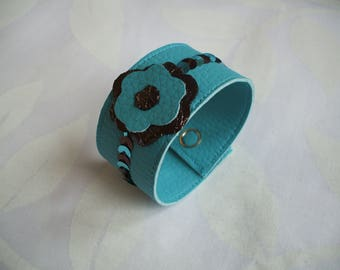 Faux turquoise leather flower Cuff Bracelet