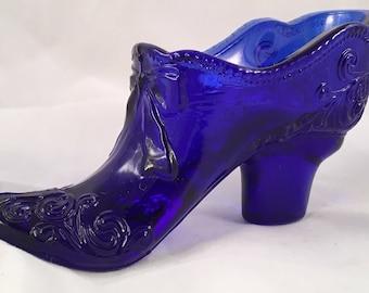 Vintage Mosser Cobalt Glass Slipper