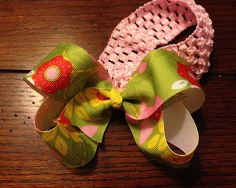 Floral bow with headband