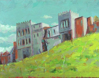 Bab Lbhar in Tangier Maroc.Huile on canvas. Size: 40 X 60 cm