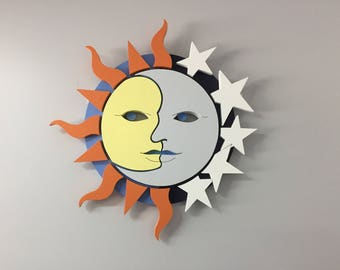 Wood Sign - Sun and Moon