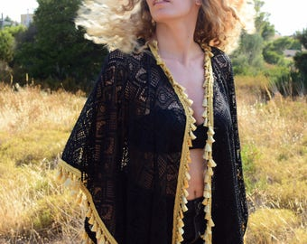 Gold Touch The Best Valentine's Gift for Her Womens Beautiful Black Ethnic Lace Kimono Top Caftan Mini Length