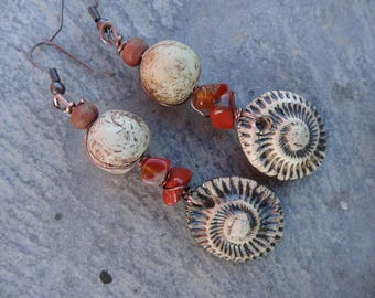 """Earrings """"fossil"""" rustic - ceramic piece, African clay bead, gem stones"""