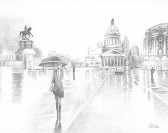 St. Petersburg in the rain at sunset on 200gr drawing paper