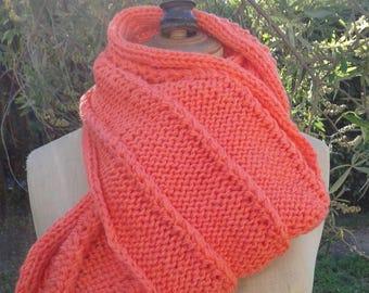 Orange knitted scarf handmade decorative stitches