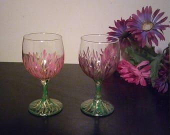 Hand painted wine glass set