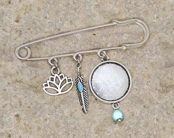 Silver ring 20 mm brooch pin