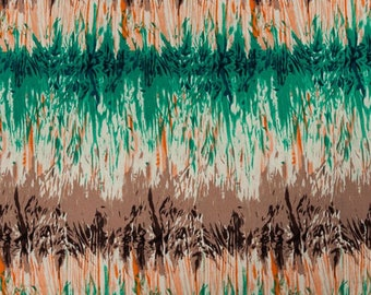 Gradient Green, orange, brown background fabric unbleached