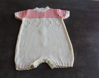onesie was off-white, pink 6 months