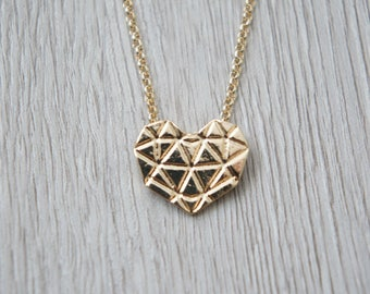 So origami - Golden Heart pendant necklace