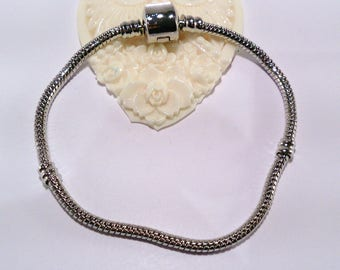 Silver plated 18 cm (98C) snake chain European style bracelet