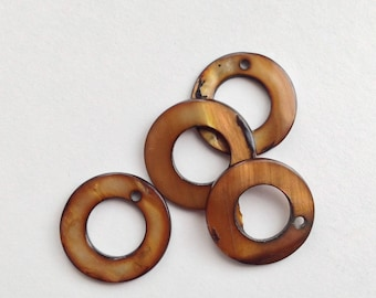 17 / lot 6 mother of Pearl coin beads flat washer Brown 17mm