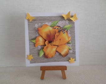 card for any occasion with yellow flower and yellow butterflies