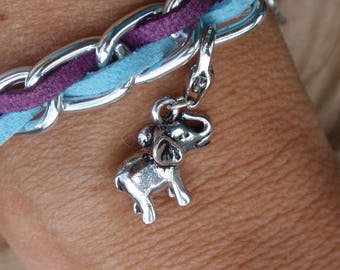 Silver plated curb chain and suede cord light blue and purple, Tibetan silver elephant bracelet.....