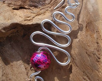 Beautiful earrings Silver Aluminum and pink marbled beads, silver attachment