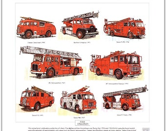 FIRE ENGINES - Fine Art Print - Dennis AEC Merryweather