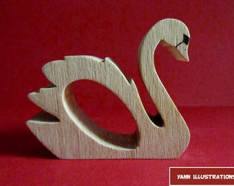 Napkin Swan 2 wooden fretwork (thick)