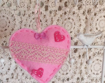 Felt hanging heart decorated with lace