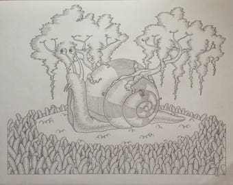 The snail (surreal drawing)