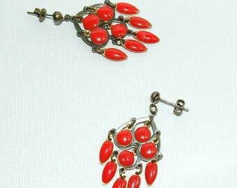 Coral red enameled pendants earrings