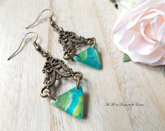 Aztec peacock pearl earrings