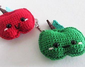 Kawaii Apple is hand crocheted Keyring